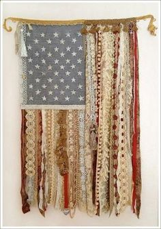 4th of July DIY flag with lace and ribbon by deena