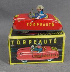 1970's HUNGARIAN HUNGAR TIN TOY LEMEZ LEMEZARUGYAR WIND PUSH HEAD DRIVER CAR BOX | eBay
