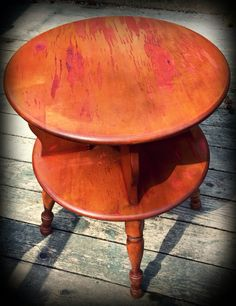 Distressed staining on cute vintage table