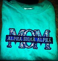 Alpha Sigma Alpha Mom: A Perfect Mother's Day Gift Gamma Phi Beta, Alpha Chi Omega, Alpha Sigma Alpha, Sigma Kappa, Kappa Delta, Sorority Sisters, Sorority Life, Sorority Shirts, Perfect Mother's Day Gift