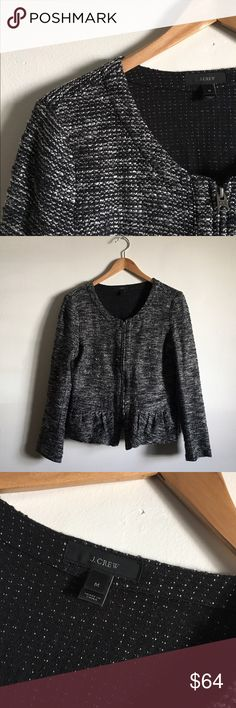 J. Crew Peplum Blazer Adorable Boucle Peplum jacket. Front zip closure. Excellent condition. Cotton/Acrylic blend. Sold out online! J. Crew Jackets & Coats Blazers