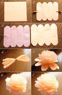 $Fleurs de Papier ~クラフトパンチや花紙で作る立体のお花いろいろ~-お花紙の芍薬の作り方