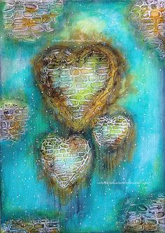 Original Mixed Media Painting | Heart Canvas | Nika in Wonderland