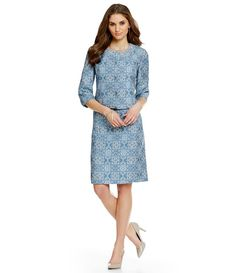 Preston & York Livia Embroidered Batik Jacquard Jacket & Katya Sheath Dress