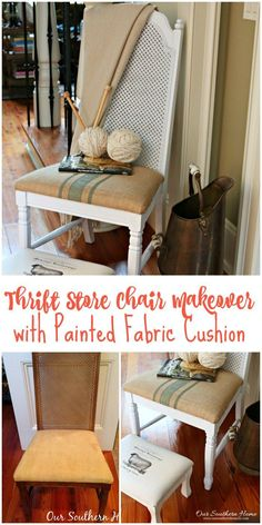 Thrift store chair makeover with spray paint and painted fabric chair cushion