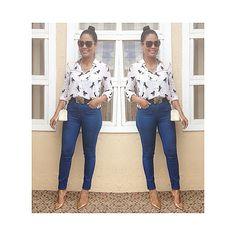 #looktrabalhodami camisa de cavalinhos com jeans skinny cintura alta mais scarpin! Sempre gostei da cintura marcada, estou amando a tendência da cintura alta, assim não tenho mais dificuldade de achar calças com cós alto!