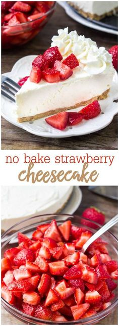This no bake strawberry cheesecake is the perfect recipe for summer. So creamy, so easy & topped with fresh berries. Everyone goes crazy over this easy cheesecake recipe!