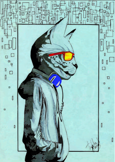 Gato humano Ilutração/Illustration [Thalita Barros]