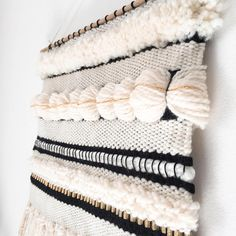 BLACK & GOLDEN IVORY // Woven Wall Hanging —— what is this half Pom Pom technique across the top?
