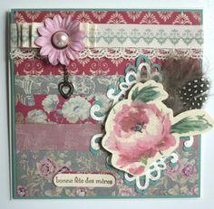"Magnolia Grove ""Bonne fête des mères"" by Genevieve Allen Paper Art, Paper Crafts, Envelopes, Magnolia, Card Making, Tags, How To Make, Happy Mothers Day, Papercraft"