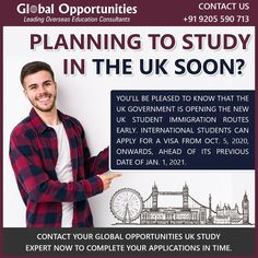 You'll be pleased to know that the UK government is opening the new UK student immigration routes early. International students can apply for a visa from Oct. 5, 2020, onwards, ahead of its previous date of Jan. 1, 2021. Contact your Global Opportunities UK study expert now @ 9205590713 Mba In Uk, Scholarships In Uk, Uk College, Uk Universities, Overseas Education, Register Online, Jan 1, Study Abroad, About Uk