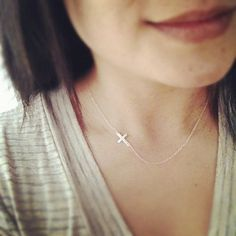 Tiny Sterling Silver Sideways Cross Necklace  All  by cocowagner, $20.50