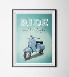 Wall poster Vespa Ride with Style A2 or A3 print by 84Posters