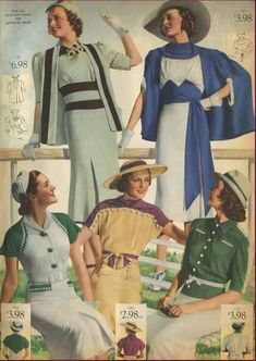 Social because: National Bella Hess catalog, 1938 color photo print ad illustration blue green yellow brown dress hat gloves cape sweater bolero 1938 Fashion, Retro Fashion, Vintage Fashion, Womens Fashion, Fashion Coat, Victorian Fashion, Moda Vintage, Vintage Mode, Vintage Outfits