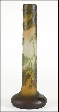 A Galle Cameo Glass Tall Vase : Lot 135-2014 #galle #cameo #fineglass