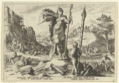 Hendrick Goltzius   De Bronzen Eeuw, Hendrick Goltzius, Franco Estius, 1589   Verbeelding van het leven tijdens de Bronzen Eeuw: mannen bouwen een groot gebouw. Op de voorgrond de godin Minerva. Voor haar staat een jongen met een bundel steekwapens. Onder de voorstelling twee keer twee regels Latijnse tekst. Deze prent is onderdeel van een serie van 52 prenten die verhalen uit Ovidius' Metamorfosen verbeelden. Deze serie valt uiteen in drie genummerde reeksen: twee van 20 prenten en één van…