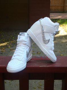 Custom Women Bling Rhinestone White Croc Nike by Customshoesbiu