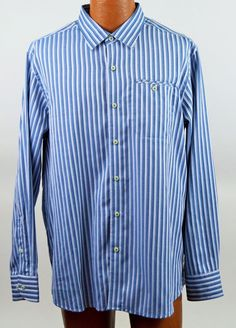 Tommy Bahama Large Mens Long Sleeve Button Front Striped Shirt NWT #TommyBahama #ButtonFront