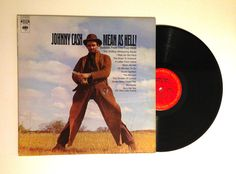 20% OFF SALE Johnny Cash Mean As Hell! Ballads From The True West LP Album Stampede The Blizzard Vinyl Record Country