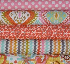 Michael Miller, Sorbet in Coral. Drool worthy printed Fabrics I'd love to have in Cora's room.