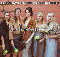 Winter Wedding Fur, Winter Wedding Bridesmaids, Winter Bride, Brides And Bridesmaids, Christmas Wedding, Vintage Fur, Vintage Bridal, Bridal Bolero, Bridal Shrugs