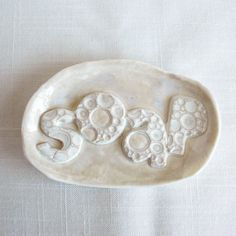 Handmade white porcelain soap dish, creamy marble ceramic glaze and bubble letters by VanillaKiln ceramics