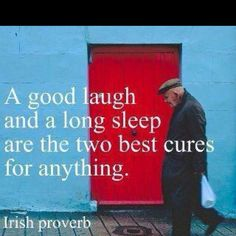 A Good Laugh and a Long Sleep are the Two Best Cures for Anything - Irish Proverbs Great Quotes, Quotes To Live By, Me Quotes, Funny Quotes, Inspirational Quotes, Famous Quotes, Quotes Images, Funny Humor, Depressing Quotes
