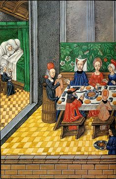 Feast Meal at wealthy occasion of a birth. Miniature in the Biblia figurata made for the Raphael Mercatellis , Ghent (?), Late 15th century . Ghent Cathedral , Ms. 10 , fol. 26v