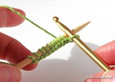 Crochet cast-on: Carry casting-on new stitches until you have one fewer than required.