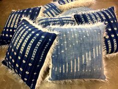 Handmade One of a Kind Vintage Indigo textiles from Mali, Africa Re Imagined into beautiful x Cozy Nomad Pillows backed with faux fur. Choose from FAUX
