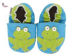 HOBEA-Germany Krabbelschuhe Frosch, Chaussures Bébé quatre pattes (1-10 mois) mixte bébé - Turquoise (türkis), 24/25 EU - Chaussures hobea germany (*Partner-Link)