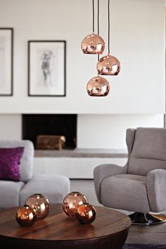 Make a glamorous statement with dramatic copper pendant lighting - Barker and Stonehouse Copper Pendant Lights, Copper Dining Room, Dining Room Lighting, Copper Interior, Copper Lighting, Copper Dining Room Light, Living Room Inspiration, Ceiling Light Design, Dining Room Light Fixtures