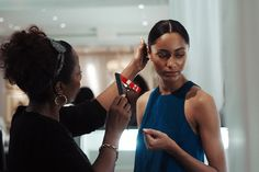 Perfecting effortless glamour backstage at #RLResort. Photographed by Miguel Yatco.