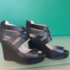 """DV by Dolce Vita Jude High Wedge Sandals These gorgeous black leather wedges are in great condition! Back zipper, 3.5"""" heel. Super sexy yet classy. Can be dressed up or down, I'm only selling to make room in my closet. DV by Dolce Vita Shoes Wedges"""