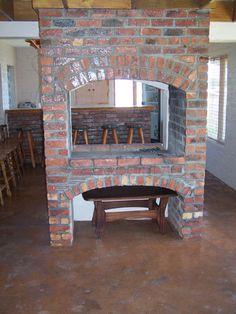 indoor_braai Built In Braai, Inside Home, One Bedroom, Colour Schemes, Indoor, House Design, Fire Pits, Fireplaces, Building