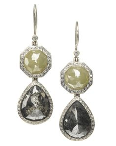 Raw Diamond Double Drop Earrings from Todd Reed Jewelry - Palladium drop earrings are set with 21.975 cts. t.w. fancy diamonds in shades of gray and icy white, surrounded with 0.58 cts. t.w. brilliant and 0.01 cts. raw diamonds. MSRP $42,680