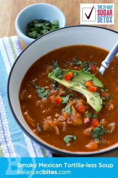 SCD Mexican Smoky 'Tortilla-less' Soup (*Use SCD legal chipotle powder & SCD tomato paste...)