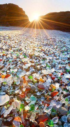 beach with glassy stones