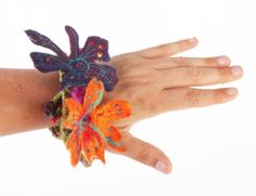 felt flower necklace , felted hairband,  braclet multicolored embroidery, Ariane Mariane /// TAFA Market Floral Collection: http://www.tafaforum.com/market/nature/flowers/