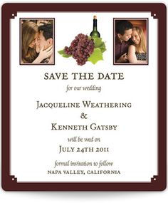 Save the Date Magnets - Wine Theme with Photo