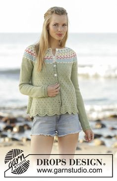 Spring Valley Cardigan with wave pattern, round yoke and multi-coloured pattern by DROPS Design Free Knitting Pattern Fair Isle Knitting Patterns, Fair Isle Pattern, Sweater Knitting Patterns, Cardigan Pattern, Crochet Patterns, Drops Design, Summer Knitting, Free Knitting, Crochet Design