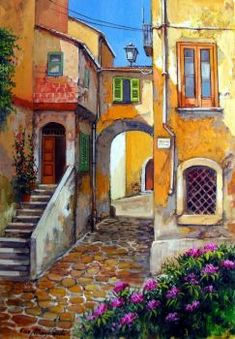pieces jigsaw puzzle) by Francesco Mangialardi Landscape Art, Landscape Paintings, Building Painting, Wow Art, Italian Artist, Urban Sketching, Artist Painting, Oeuvre D'art, Art And Architecture