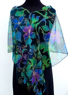 #tropical #chiffon #silk #scarf #black #blue #green #handpainted #silkpainting #irenedegortes
