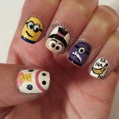 50 Adorable Despicable Me Minion Nail Designs photo Callina Marie& photos Funky Nail Art, Funky Nails, Cute Nail Art, Love Nails, Pretty Nails, Minion Nail Art, Nail Art Designs, Super Cute Nails, Nails For Kids