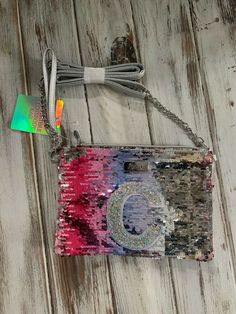 Justice Girl/'s Polka Dot Flip Sequin Initial /'T/' Wristlet NWT