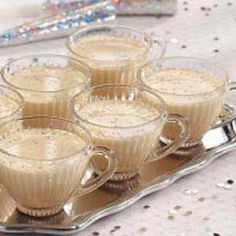 "Effortless Eggnog Recipe -This easy eggnog offers delicious traditional flavor without any eggs! There's no food safely worry about raw eggs, and anyone with egg allergies can enjoy this mixture. It's also good ""spiked,"" if you are so inclined. —Paula Zsiray, Logan, Utah"
