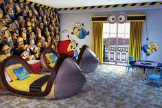 Great kids room with Minions wall design also minions wall decals and cute unique beds : Super Cute Kids Bedroom Decor Ideas : Remodeling Your Great Kids Rooms with Despicable Me Themes Decorations , despicable me decor,despicable me room, PlussRoom
