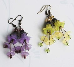 Yellow Green Lily and Purple Lavender Lily Flower Earrings