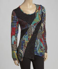 Another great find on #zulily! Teal & Red Patchwork Asymmetrical Tunic #zulilyfinds