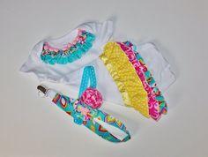 Ruffled Baby Girls Onesie Headband Pacifier by LostCreekBoutique